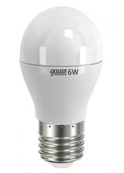 Лампа светодиодная LED Elementary 6Вт шар 4100К белый E27 450лм 180-240В GAUSS 53226