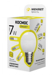 Лампа светодиодная LED GL45 7Вт 220В E27 3000К 3 уровня яркости Космос Smart LksmLEDSD7wGL45E2730