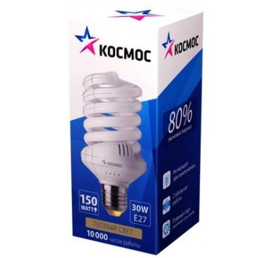 Лампа люминесцентная компакт. SPC 30Вт E27 спиральная 2700К КОСМОС LKsmSPC30wE2727