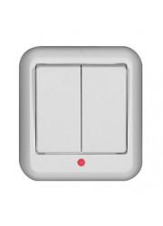 Выключатель 2-клавишный ОП Прима 6А с индикацией белый SchE A56-007-BI (А56-007-би)