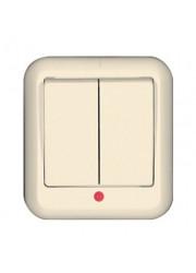 Выключатель 2-клавишный ОП Прима 6А с индикацией слоновая кость SchE A56-007-S (А56-007-с)