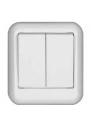 Выключатель 2-клавишный ОП Прима 6А белый SchE A56-029-B (А56-029-б)