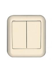 Выключатель 2-клавишный ОП Прима 6А слоновая кость SchE A56-029-S (А56-029-с)
