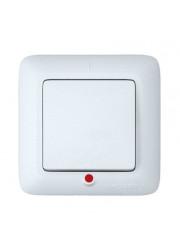 Выключатель 1-клавишный СП Прима 6А с индикацией белый SchE S16-053-BI (С16-053-би)
