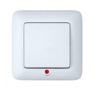 Выключатель 1-клавишный СП Прима 6А с индикацией белый SchE S16-053-B (С16-053-б)
