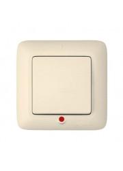 Выключатель 1-клавишный СП Прима 250В 6A с индикацией слоновая кость SchE S16-053-SI