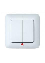 Выключатель 2-клавишный СП Прима 10А с индикацией белый SchE VS5U-217-B (ВС5У-217-б)
