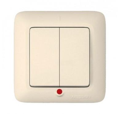 Выключатель 2-клавишный СП Прима 6А с индикацией слоновая кость SchE S56-039-S (С56-039-с)