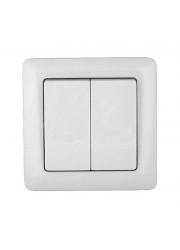Выключатель 2-клавишный СП Прима 6А белый SchE S56-043-B (С56-043-б)