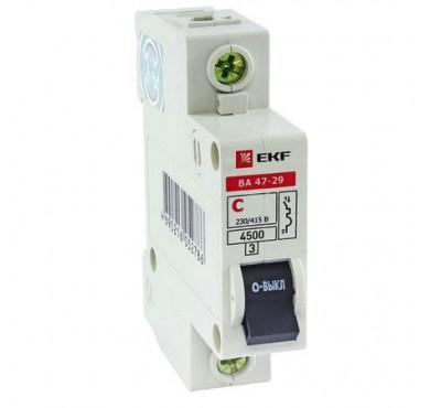 Выключатель автоматический модульный 1п B 25А 4.5кА ВА 47-63 PROxima EKF mcb4763-1-25В-pro
