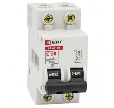 Выключатель автоматический модульный 2п C 6А 4.5кА ВА 47-63 PROxima EKF mcb4763-2-06C-pro