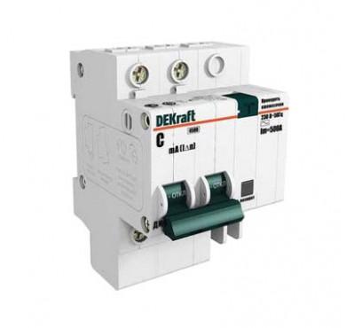 Выключатель диффер. тока 2п 4.5мод. C 25A 30мА тип AC 4.5кА ДИФ-101 DEKraft