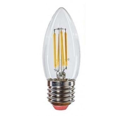 Лампа светодиодная LED Филамент 5Вт Свеча 160-260В E27 450лм 2700К ЭКОНОМКА EcoLedFL5wCNE2727