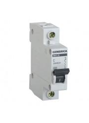 Автоматический выключатель 1п C ВА47-29 16А 4.5кА х-ка C GENERICA ИЭК MVA25-1-016-C