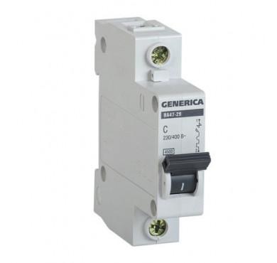 Автоматический выключатель 1п C ВА47-29 32А 4.5кА х-ка C GENERICA ИЭК MVA25-1-032-C