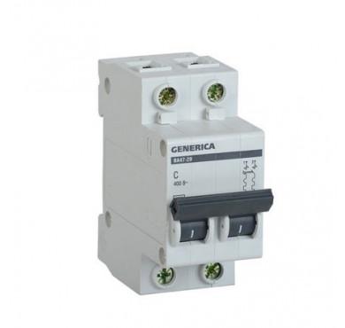 Автоматический выключатель 2п C ВА47-29 32А 4.5кА х-ка C GENERICA ИЭК MVA25-2-032-C
