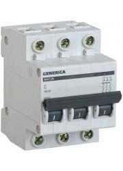 Автоматический выключатель 3п C ВА47-29 10А 4.5кА х-ка C GENERICA ИЭК MVA25-3-010-C