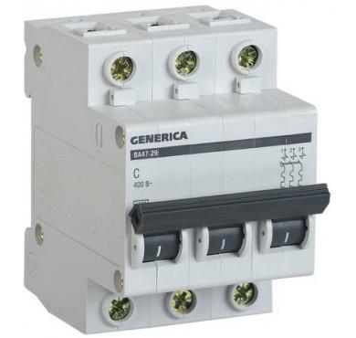 Автоматический выключатель 3п С ВА47-29 32А 4.5кА х-ка C GENERICA ИЭК MVA25-3-032-C