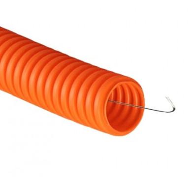 Труба гофрированная ПНД 32мм c протяжкой тяжелая оранжевая (уп.25м) ДКС 71532