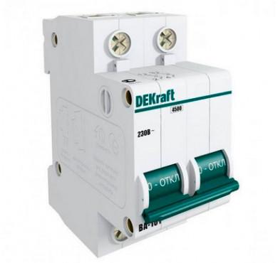 Автоматический выключатель ВА-101 2п C 16А 4.5кА DEKraft