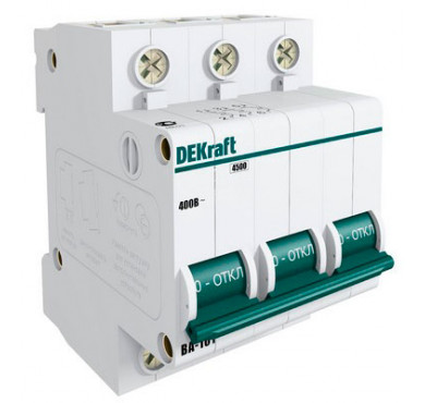 Автоматический выключатель ВА-101 3п C 16А 4.5кА DEKraft