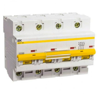 Автоматический выключатель ВА47-100 4P D 80 А 10кА ИЭК MVA40-4-080-C