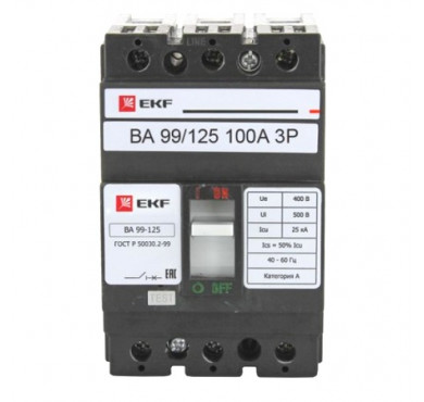 Выключатель автоматический 3п ВА-99 125/100А EKF mccb99-125-100