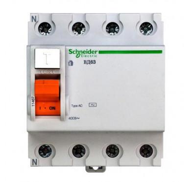 Выключатель диффер. тока 4п 40А 100мА тип AC ВД63 Домовой SchE 11464