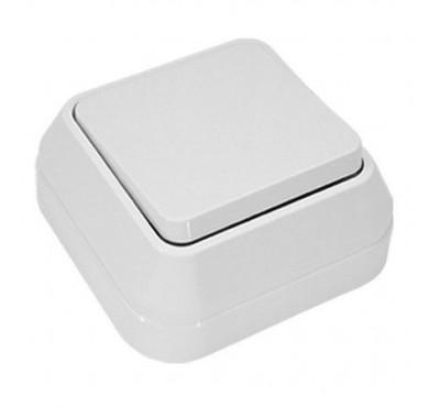 Выключатель проходной 1-клавишный ОП белый MAKEL 45105